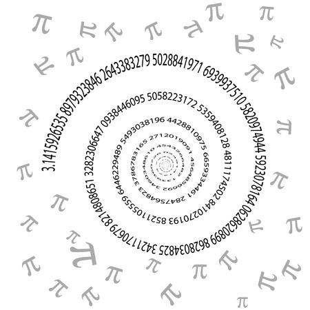 pi: Pi swirl on white background, 2d illustration, vector, eps 8