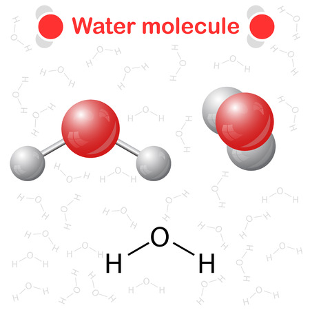 molecular model: Water molecule: icon and chemical formula, H2O, 2d & 3d illustration, vector, eps 10