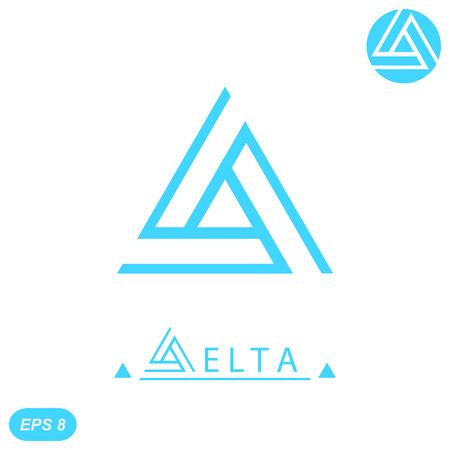 Delta letter  template, 2d flat illustration, vector, eps 8