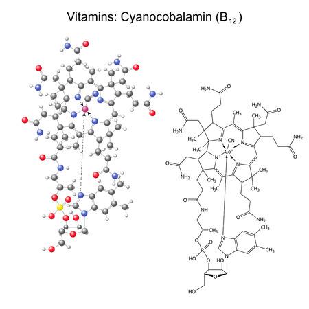 structural formula: Structural chemical formula and model of vitamin B12 - cyanocobalamin