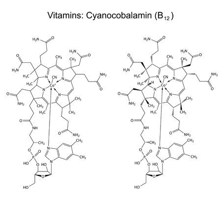 Chemical formula of vitamin B12 - cyanocobalamin Illustration