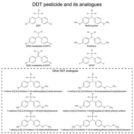 carcinogen: Pesticida DDT y sus alanogues: DDD, DDE, metoxicloro, pertano DFDT y otros Vectores