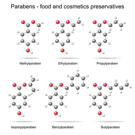carcinogen: Los parabenos - alimentos, conservantes cosm�ticos y farmac�uticos, modelos 3D, bolas y estilo palo, aislado, vector Vectores