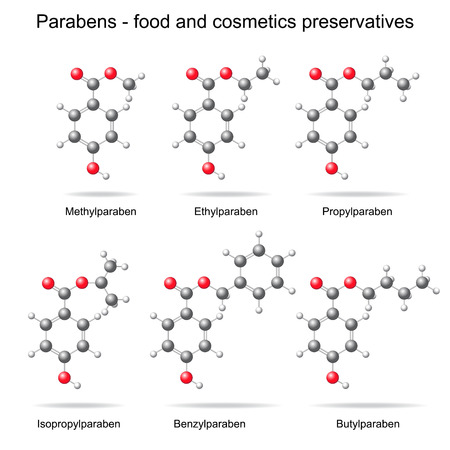 preservatives: Parabens - food, cosmetic and pharmaceutical preservatives, 3d models, ball and stick style, isolated, vector