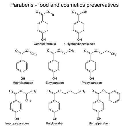 preservatives: Parabens - food, cosmetic and pharmaceutical preservatives, 2d skeletal illustration, isolated, vector