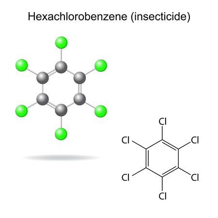 benzene: Hexachlorobenzene - model and formula of insecticide, 2d & 3d illustration, vector, eps 8