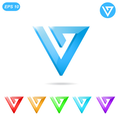 v shape: V letter icon concept with color variations, 3d illustration, isolated