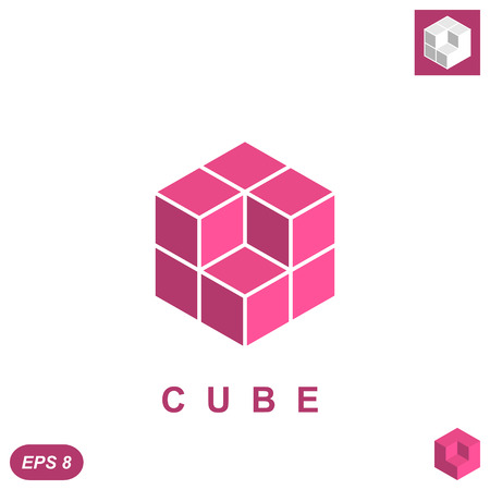 Cube isomatric icon concept, 3d illustration, vector