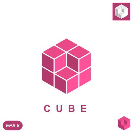 Cube isomatric icon concept, 3d illustration, vector