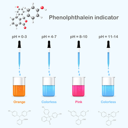 Forms of phenolphthalein in solutions with different pH, 2d & 3d illustration, isolated, vector Ilustração