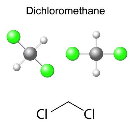 solvant: Formule chimique structurelle et le mod�le de mol�cule dichlorom�thane, 2d et 3d illustration, isol�, vecteur, EPS 8 Illustration