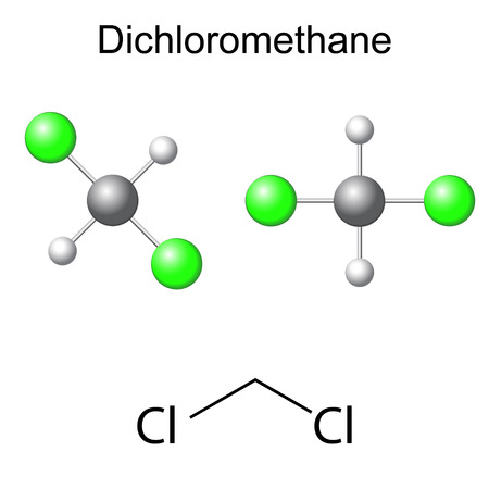structural formula: Structural chemical formula and model of dichloromethane molecule, 2d and 3d illustration, isolated, vector, eps 8 Illustration