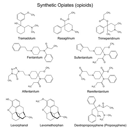opioid: Structural chemical formulas of main full synthetic opiates, 2d illustration, isolated, vector, eps 8