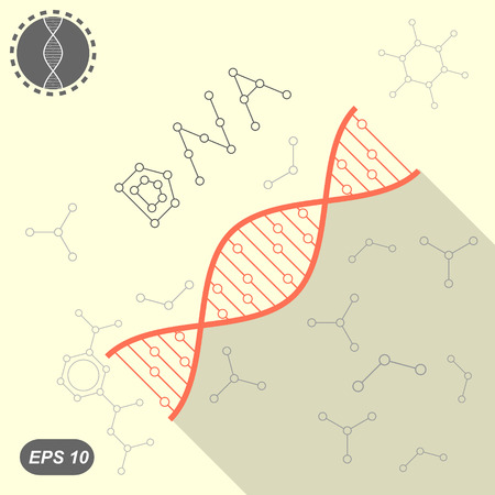 Simple DNA icon on yellow background with molecules, 2d flat illustration, vector, eps 10