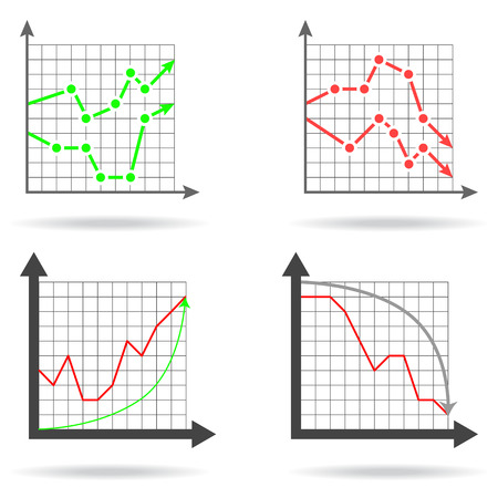 decline in values: Icons of financial charts on white background, 2d illustration, vector, eps 8