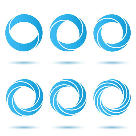 abstract swirls: Segmented o letter set, 3d illustration, isolated, vector, eps 8 Illustration