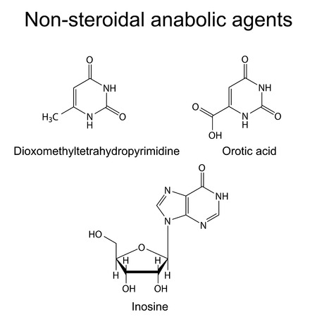 metabolism: Structures of non-steroidal anabolic compounds, 2d illustration, vector, eps 8 Illustration