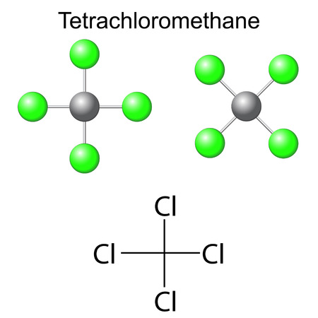 structural: Structural chemical formula and model of carbon tetrachloride - tetrachloromethane molecule, 2d and 3d illustration, isolated, vector, eps 8