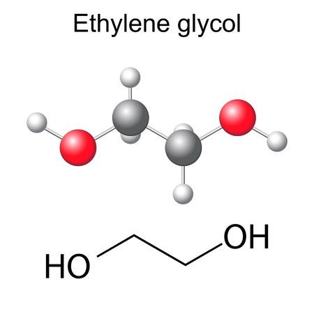 structural: Structural chemical formula and model of ethylene glycol molecule, 2d and 3d illustration, isolated, vector, eps 8