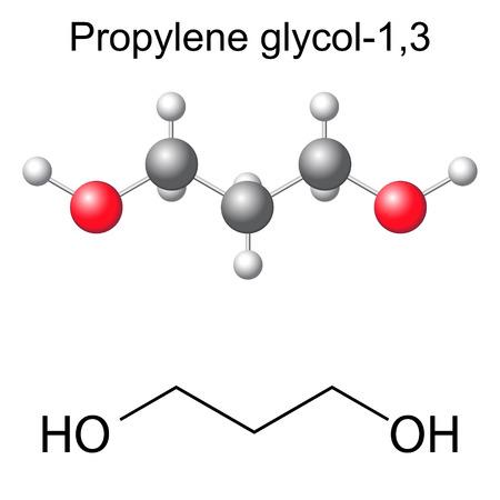 solvant: Formule chimique structurelle et le mod�le de mol�cule de -1,3 propyl�ne glycol, illustration 2D et 3D, isol�, vecteur, EPS 8