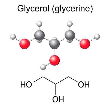 solvant: Formule chimique structurelle et le mod�le de mol�cule de glyc�rol, illustration 2D et 3D, isol�, vecteur, EPS 8