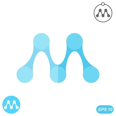 letter m: M letter - molecule logo conception, 2d flat illustration, vector, eps 10