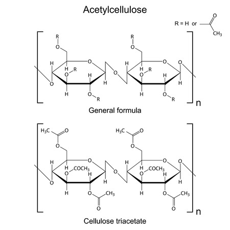 cellulose: Structural chemical formula of  acetyl cellulose polymer, 2d illustration, vector, eps 8