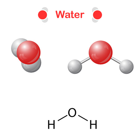 solvent: Water molecule - icon and chemical formula, H2O, 2d & 3d illustration, isalated, vector, eps 10