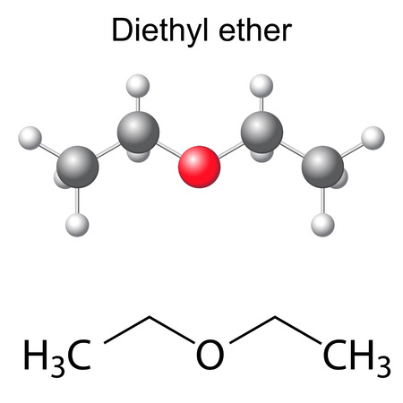 Structural chemical formula and model of diethyl ether molecule, 2d and 3d illustration, isolated, vector, eps 8