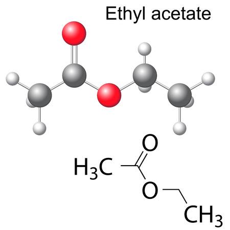 Szerkezeti kémiai képlet és a modell etil-acetát molekula, 2D és 3D illusztráció, elszigetelt, vektor, eps 8
