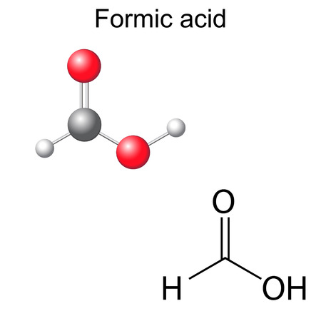 Structural chemical formula and model of formic acid molecule, 2d and 3d illustration, isolated, vector, eps 8