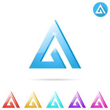 Delta letter template with color variations, 2d and 3d illustration