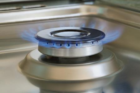 ionizing: Flames of gas stove, closeup, indoors shot, natural gas