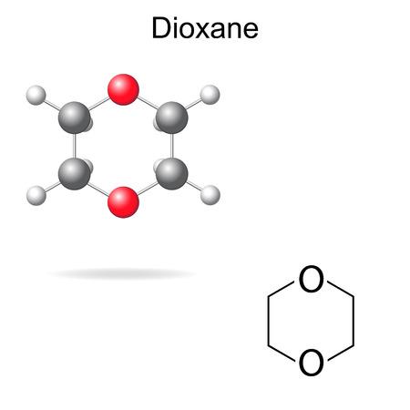 solvant: Formule chimique structurelle et le mod�le de mol�cule de dioxane, 2d et 3d illustration, isol�, vecteur Illustration
