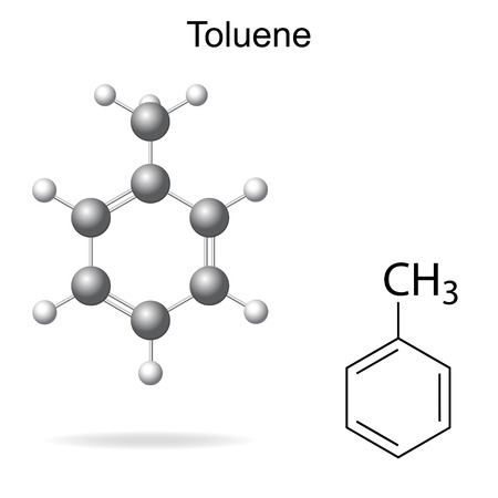 structural: Structural chemical formula and model of toluene molecule, 2d and 3d illustration, isolated, vector, eps 8