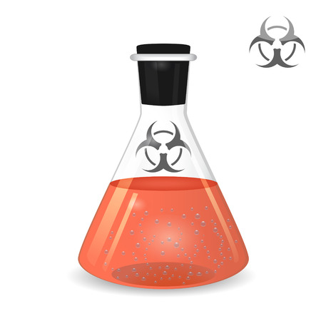 ml: Chemical conical flask with toxic solution isolated on white, 2d illustration, vector,