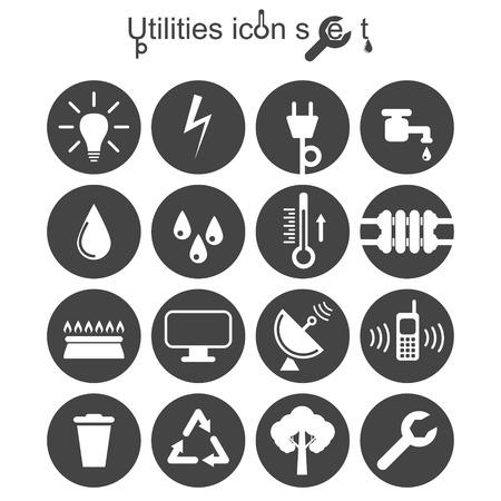 servicios publicos: Utilidades conjunto de iconos, ilustración 2D en el cojín redondo, vector, Vectores