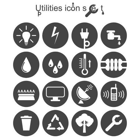 Utilities icon set, 2d illustration on round pad, vector, Ilustração