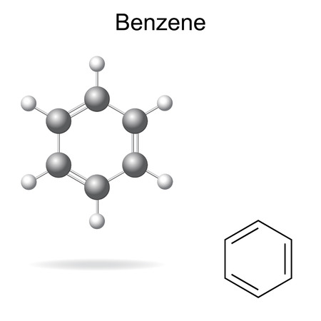 structural formula: Structural chemical formula and model of benzene molecule, 2d and 3d illustration, isolated, vector,