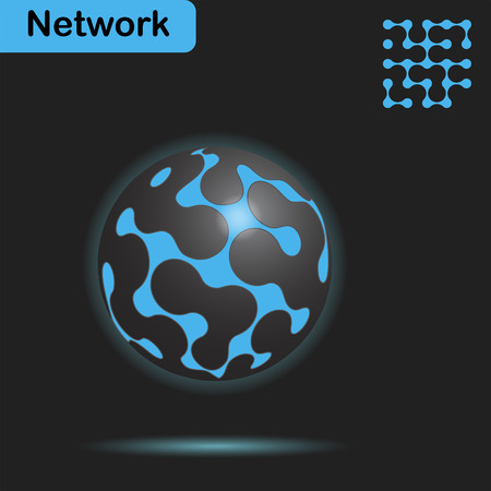 nexus: Sphere with glow and net on dark background, 3d illustration, vector,