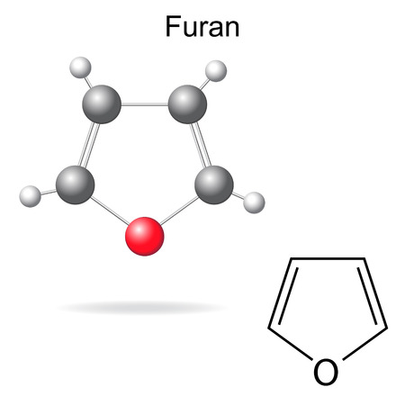 structural formula: Structural chemical formula and model of furan molecule, 2d and 3d illustration, isolated, vector, eps 8 Illustration