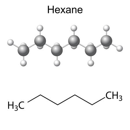 solvant: Formule structurelle chimique et le mod�le de mol�cule d'hexane, 2d et 3d illustration, isol�, vecteur,