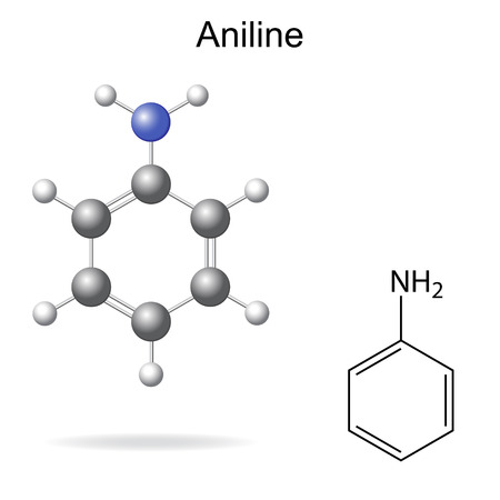 structural formula: Structural chemical formula and model of aniline molecule, 2d and 3d illustration, isolated, vector, eps 8 Illustration