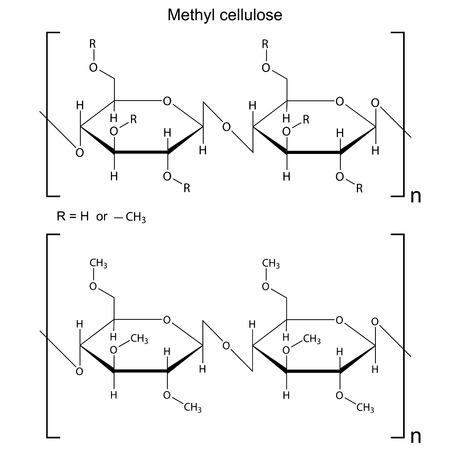 Szerkezeti kémiai képlet metil-cellulóz polimer, 2d illusztráció, vektor Illusztráció