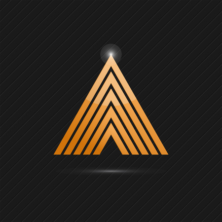delta: Delta letter  template on dark background, 3d illustration, vector