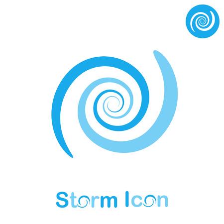 Storm spiral concept on white background, 2d flat illustration, vector
