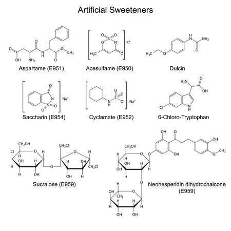 sugar metabolism: Structural chemical formulas of artificial sweeteners - food additives, 2d illustration, vector