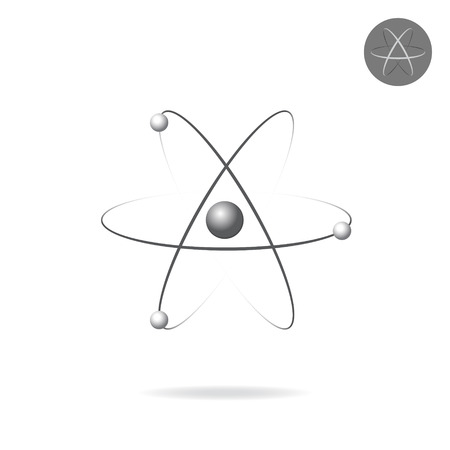 atomic: Atomic concept icon, 3d isolated on white vector, non-expanded stroke on plate