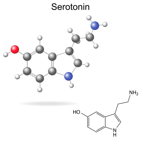 metabolism: Structural model, chemical formula of serotonin molecule, 2d and 3d isolated vector, eps 8 Illustration
