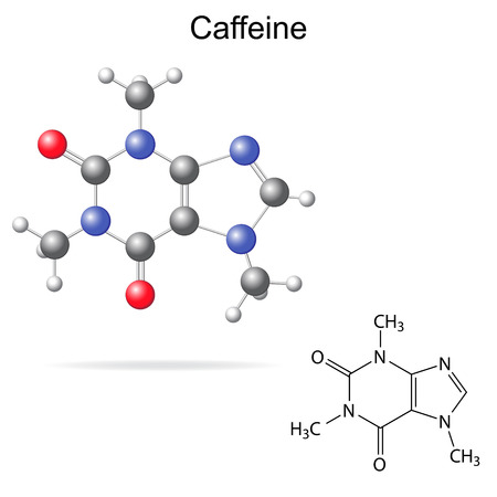 caffeine: Structural model, chemical formula of caffeine molecule, 2d and 3d isolated vector, eps 8 Illustration